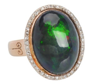 Black Opal Ring Yellow Gold