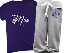 Personalized Mrs.Fleece Capri and Shirt Set, Wife  Capri and Shirt Set for Bride, Mrs. Capri Sweatpants and Shirt Set