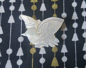 Vintage Carved Mother of Pearl Bird Pin