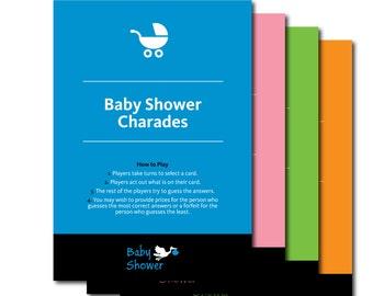 Baby Shower Charades - Fun Printable Charade Baby Shower Game - Printable Charades,Baby Shower Games, New Baby, Printable Baby Shower Game