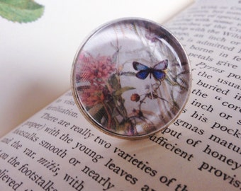 Butterfly statement ring, flower and butterfly silver plate ring, blue and pink butterfly jewellery