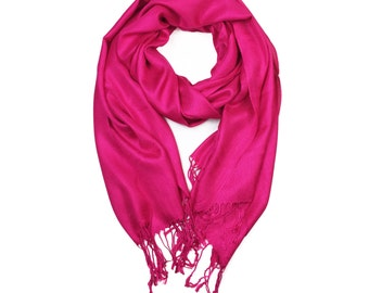Hot Pink Supersoft plain Pashmina Shawl - the perfect bridesmaid gift or wedding favor