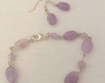 Lavender Amethyst Bracelet and Earrings Set