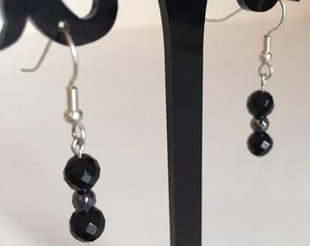 Black Onyx and Hematite Earrings