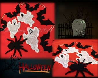 Halloween set- (ghost-three sizes/Bat in two sizes/spider small size)-FSL-4x4 hoop