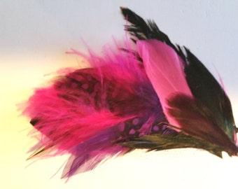 Hair Clip- Feathered- Hot Pink