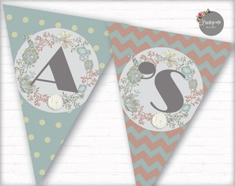 Flower Banner, Baby Shower Banner Party Supplies Digital Decoration Printable Its a Girl Pennant Banner, Instant Download, DIY, 012