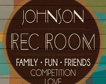 Custom Rec Room Sign Digital Download