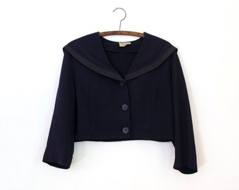 Starboard Jacket — 1950s vintage cropped sailor jacket // blue polyester Navy jacket // Empire Fashions // deep collar and buttons // medium