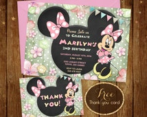 Minnie Invitation - Printable Minnie Invitation - Disney Floral Shabby Chic - Chalkboard Birthday Invite - 5x7 or 4x6 - Free Thank You Card