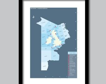 Sea Areas. Coastal Stations. The British Isles Shipping Forecast. Rising slowly. Viking, Cromarty, Fair Isle. Beautiful Prints