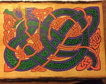 Celtic dragon pyrography and acrylic