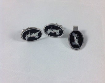 Automobile model T Ford enamel cufflinks and tie clip, Mid Century Chic