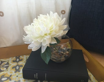 White Flower in Glass Vase / Single White Flower with River in Faux Water