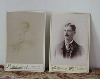 Sepia Photo Victorian Era Cabinet Cards Vintage photos by Pritchard aR from Meriden Ct photography
