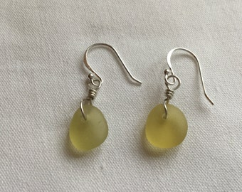 Sunshine Yellow Seaham Seaglass Sterling Silver Drop Earrings, Handmade, Genuine Seaglass, (DE3)