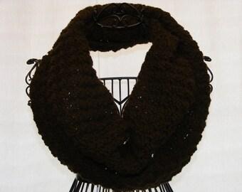 Crochet Infinity Scarf (Mocha)- Puff Stitch