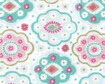 Medallion Print Fabric, Pink and Teal Fabric with Medallion Print, Pink and Teal Pattern Fabric, Jules and Coco Fabric