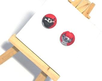 Cat Earrings, button earrings