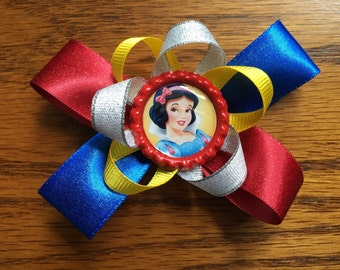 5 inch Red and Blue stacked Snow White hair bow