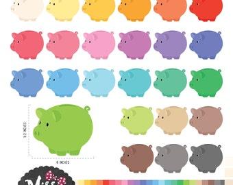 26 Colors Piggy Bank Clipart - Instant Download