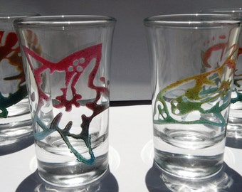 Set of 4 Etched Shot Glass, Sandblasted Shot Glass, Tropical, Sealife, Turtle, Seashell, Starfish, Dolphin, Airbrushed Painted