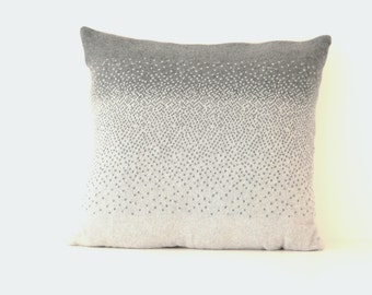 Handmade two-tone grey100% Merino wool ombre fade knitted cushion