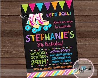 Roller Skate Party Invitation, Roller Skating Birthday Party Invitation, Roller Skate Birthday Party Invitation, Roller Skate, Digital File