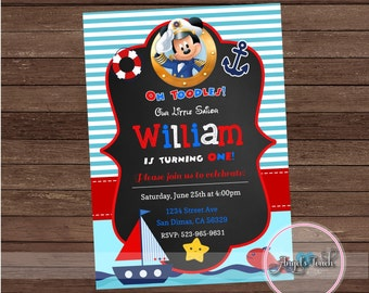 Mickey Mouse Sailor Party Invitation, Mickey Mouse Birthday Invitation, Mickey Mouse Sailor Birthday Party Invitation, Digital File.