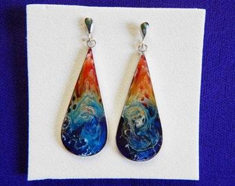 Drop Silver 950 earrings/Free Shipping USA/DropBeauty silver 950 earring/ColourDrop earring/silver 950 earring