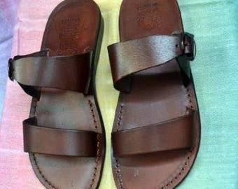 Slip on Jesus sandals ,fine Leather sandals with a wide fit Made in  Jerusalem .