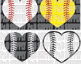 Softball or Baseball Heart SVG, DXF - Digital Cut file for Cricut or Silhouette svg dxf