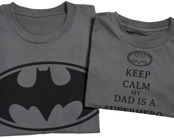 Super Hero Dad And Son Set Batman - Charcole - Matching Father And Daughter Set - Fathers Day Gift - Men's T-Shirt & Baby Bodysuit