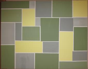 gray yellow and green geometric modern painting 16 x 20