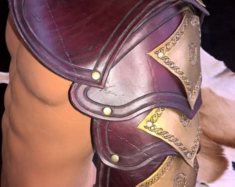 Maroon and Gold Leather Pauldron