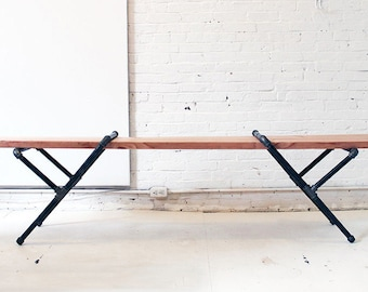 Pipe Bench | Industrial Pipe Bench | Industrial Furniture | Wood Bench | Dining Bench | Metal Legs | Entryway Bench | Metal Legs
