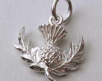 Genuine SOLID 925 STERLING SILVER 3D Scottish Thistle charm/pendant