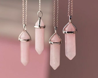 Rose Crystal Point Necklace Rose Quartz Necklace Pendant Quartz Crystal Layering Healing Crystal Yoga Pendant Double Point Necklace