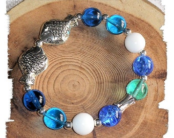 Ocean Blues & Aquas with Kissing FISH Stretch Bracelet Beach Riverbank or Pool Side Bracelet for Small Wrist Size Beachy Cool