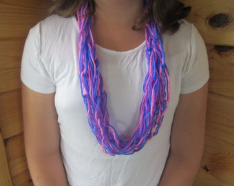 Pink, Purple, and Blue chain link scarf