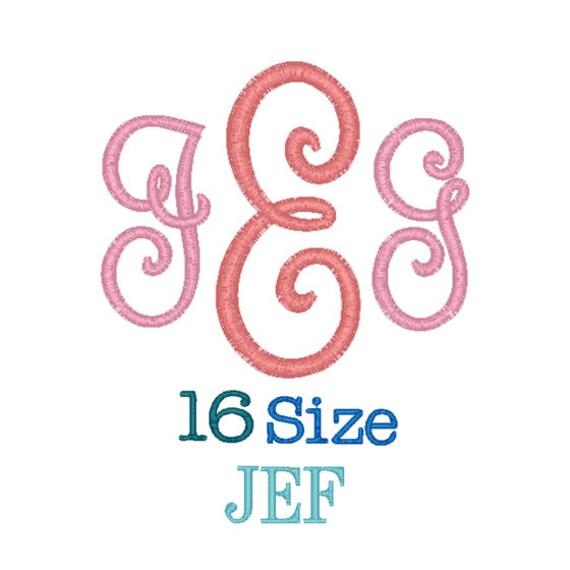 Pillow monogram font sizes jef format