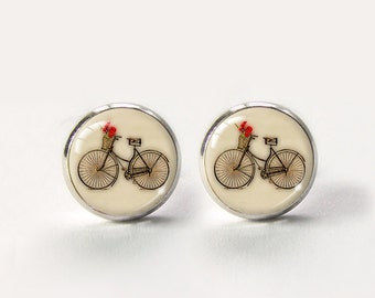 Bike Stud Earrings,Bicycle Earrings