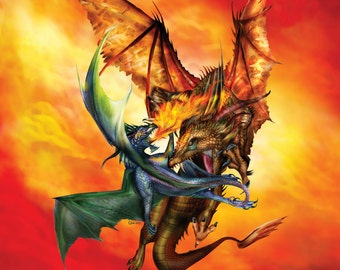 """11x17"""" Color Print """"Dueling Dragons"""""""