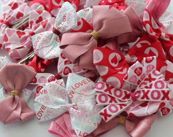Handmade Bow Hair Clips- Valentines Collection