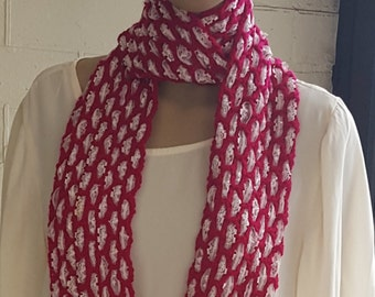 Crochet and Lace Infinity Scarf,  Fuchsia Scarf with Pale Pink Lace, Circle Scarf, Woollen Scarf, Infinity Cowl, Fuchsia Scarf