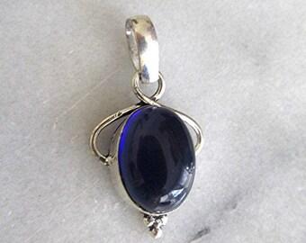 Silver pendant gemstone pendant blue gemstone cabochon pendant vintage 90s pendant made in India boho pendant hippie pendant gift.