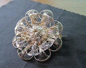 Sterling silver brooch filigree brooch sterling silver pin filigree pin made in Scotland vintage 20s silver anniversary gift.