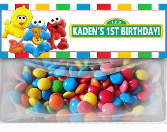 Baby Sesame Street Birthday Goodie Bag Toppers, Baby Elmo Party Favors, DIY Printables, Sesame Street Elmo Party Supplies, Elmo Party
