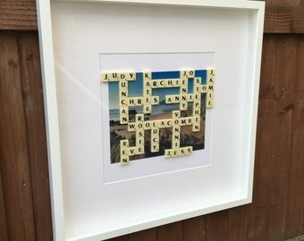 Photo Scrabble Frame - A Unique and Personalised Gift for Birthdays, Anniversaries, Mother's Day, Father's Day, Christmas etc