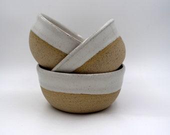 Three small ceramic bowls - white bowls -ceramic Wheel Thrown bowl